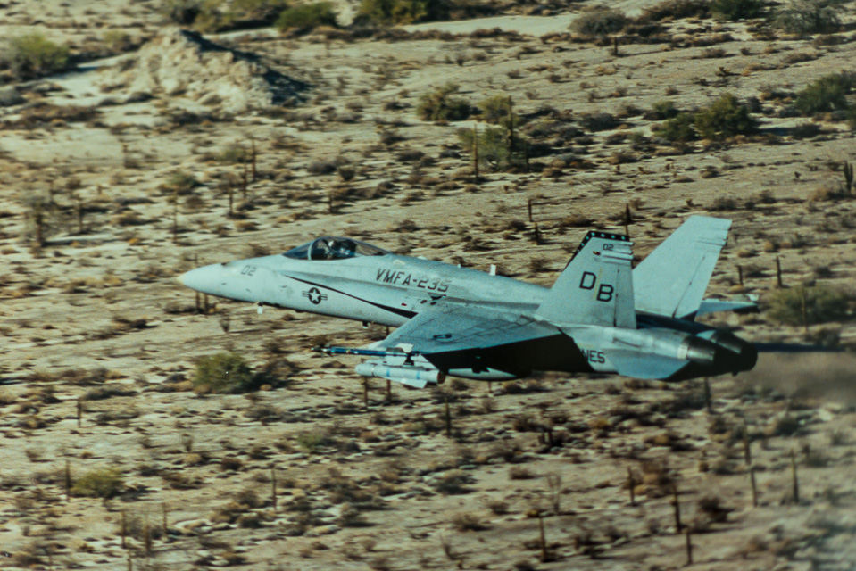Fighter Jet VMFA-235 FA18 Hornet flying Low Altitude Training over SoCal Desert